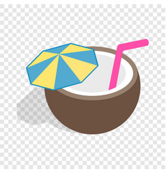 Coconut cocktail isometric icon vector