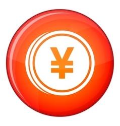 Coin yen icon flat style vector