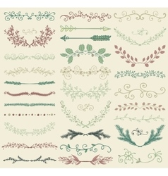 Color Hand Drawn Dividers Branches Swirls vector image vector image