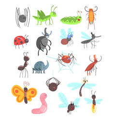 Cute friendly insects set with cartoon bugs vector