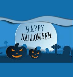 design withpumpkin on cemetery happy halloween vector image