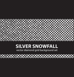 Diamond pattern set silver snowfall seamless vector