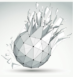 Dimensional wireframe grayscale object spherical vector