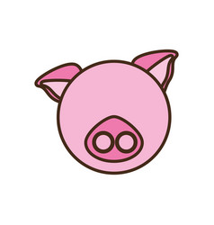 Face pig cartoon animal vector