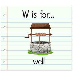 Flashcard letter w is for well vector