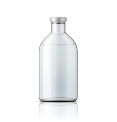 Glass medical bottle with aluminium cap vector