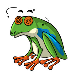 Green frog with dizzy eyes vector