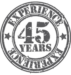 Grunge 45 years of experience rubber stamp vector image vector image