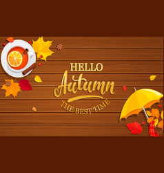 hello autumn banner on wooden background vector image