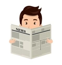 Man reading newspaper cartoon design vector image