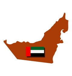 Map of arab emirates with flag vector