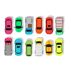 Multicolor Cars Isolated on White City Parking vector image vector image