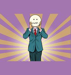 Nervous skepticism man smiley emoji face vector