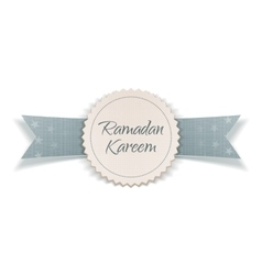 Ramadan kareem festive emblem with greeting ribbon vector