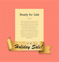 Ready to holiday sale promo poster golden ribbon vector