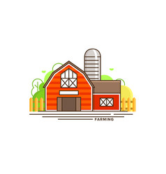 red farm building flat vector image vector image