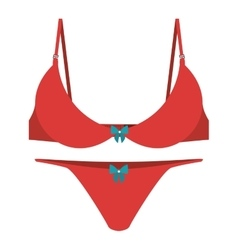 red set brassier tanga with bow vector image vector image