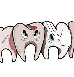 Sad rotten teeth vector
