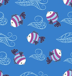 Seamless pattern with cute fish vector