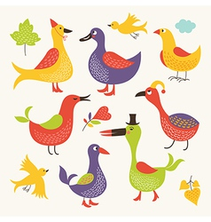 Set of a whimsical birds vector