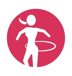Woman silhouette gymnastic with ring pink circle vector