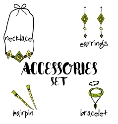 Women boho accessories hand drawn vector image