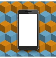 Modern smartphone on geometric background vector