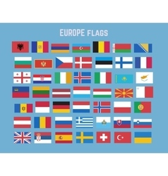 Flat collection of europe flag set vector