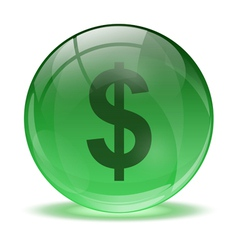 3D glass sphere and green dollar icon vector image