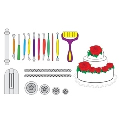 Modelling tools for icing  decorating sugarpaste vector