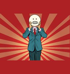 Panic anger man smiley emoji face vector