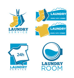 24h laundry room service isolated promotional vector