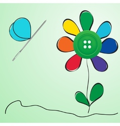 Button and needle provided in the form of a flower vector