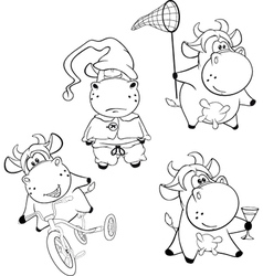 Happy cows clip-art cartoon coloring book vector