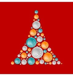 Bright abstract fir tree from christmas balls vector