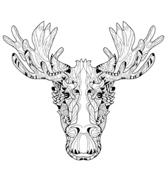 Ornamental head of elk layered vector