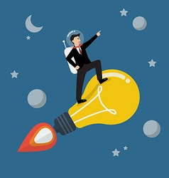 Businessman astronaut on a moving lightbulb idea vector