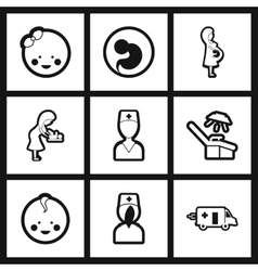 Assembly stylish black and white icons obstetrics vector