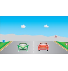 Cars on highway vector