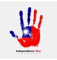 Handprint with the flag of taiwan in grunge style vector