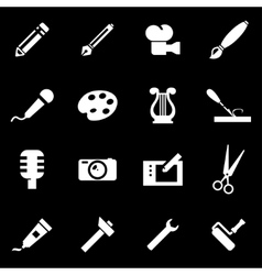 White art tool icon set vector