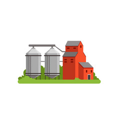 Agricultural silo towers and farm buildings vector