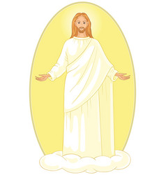 Ascension of jesus christ on cloud with arms open vector