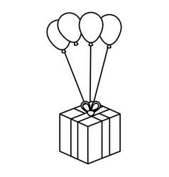 Balloon air party with giftbox icon vector