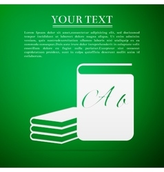 Book flat icon on green background vector