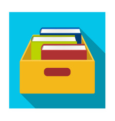 Books in box icon in flat style isolated on white vector