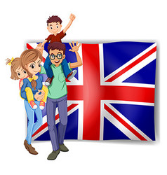 British family and flag in background vector