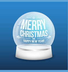 christmas glass snow ball isolated on blue vector image vector image