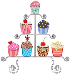 cupcakes on a stand vector image
