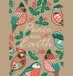 decorative christmas card with ornamental birds vector image